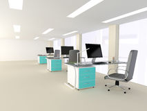 一个明亮的现代最低纲领派办公室的内部 图库摄影