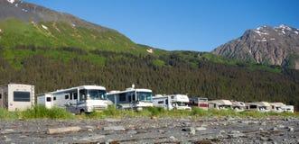 一个普遍的营地的马达家在阿拉斯加 库存照片