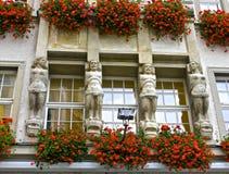 一个有历史的慕尼黑大厦的详细资料 免版税图库摄影