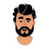 一个有胡子的人的画象动画片在理发店 头是b 皇族释放例证