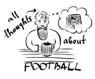 一个有胡子的长着大髭须的人的图片有啤酒杯的在酒吧坐并且记住足球比赛 免版税库存图片
