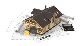 一个木屋的模型背景图画的与绘图仪 库存图片