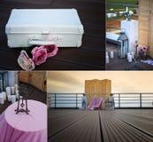 一个木屏幕在多云天空的背景 秀丽,婚姻的装饰,结婚登记,在屋顶 免版税图库摄影