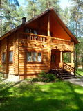一个木房子在杉木森林里 免版税库存照片