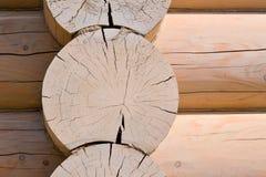 一个木房子的建筑从日志的 生态学房子 新技术在建筑 库存图片
