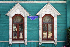 一个木房子的门面 免版税库存照片
