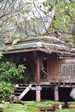一个木棕色泰国房子的风景视图有一个绿色屋顶的在有雾的一个荷花池附近 库存照片