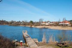 一个木码头在尼拉镇在丹麦 图库摄影