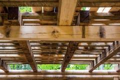 一个木结构的内部细节 免版税库存照片