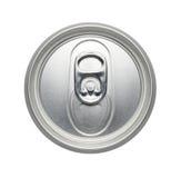 一个未打开的碳酸钠或啤酒罐,可实现的照片图象的顶层 免版税库存照片
