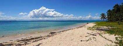 一个未损坏的海岛海滩的全景 免版税库存照片