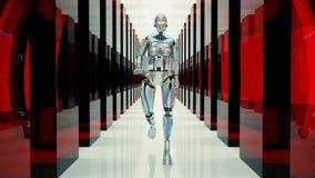 一个未来派有人的特点的机器人,走通过一个意想不到的隧道 库存例证