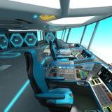一个未来派船切口项目 航天器的命令桥梁 控制板和板台管理单位 皇族释放例证