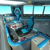一个未来派船切口项目 航天器的命令桥梁 控制板和板台管理单位 向量例证