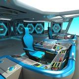 一个未来派船切口项目 航天器的命令桥梁 控制板和板台管理单位 库存例证
