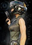 一个未来派女性战士的画象侧视图有数字式作用元素的 库存例证