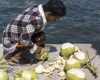 一个未认出的人切口椰子 免版税库存图片