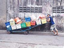一个未认出的人推挤有许多水果篮的手推车 库存照片