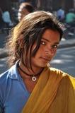 一个未认出的印地安女孩的画象在斋浦尔,拉贾斯坦,印度 免版税库存照片
