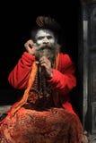 一个未认出的圣洁者停留在2014年2月02日的Pashupathinath寺庙在尼泊尔 库存图片