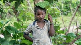 一个未认出的埃赛俄比亚的女孩的画象 免版税库存图片