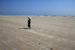 一个未认出的夫人走在宽岸在Dhanushkodi,泰米尔纳德邦,印度 免版税库存照片