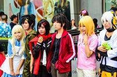 一个未认出的日本芳香树脂cosplay姿势在日本Festa在曼谷2013年。 库存图片