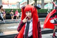 一个未认出的日本芳香树脂cosplay姿势在日本Festa在曼谷2013年 库存照片