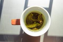 一个杯子在自然lightining的绿茶 免版税库存图片