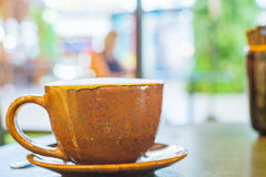 一个杯子热奶咖啡 免版税图库摄影