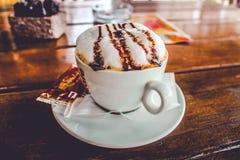 一个杯子热奶咖啡 免版税库存照片