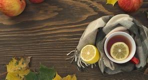 一个杯子热的茶用在一张木桌上的一条围巾包裹的柠檬 图库摄影