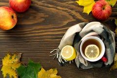 一个杯子热的茶用在一张木桌上的一条围巾包裹的柠檬 库存图片