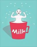 一个杯子牛奶。 免版税库存照片