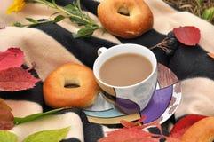 一个杯子牛奶茶、甜新鲜的小圆面包和五颜六色的秋叶在一条镶边温暖的野餐毯子 库存照片