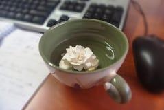 一个杯子的特写镜头有白花的在书桌上在办公室, ke 免版税库存图片