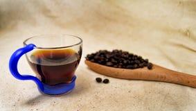 一个杯子的软的焦点精力充沛的饮料注入和咖啡豆在一把木匙子有未加工的背景 对戒毒所和健康co 图库摄影