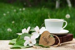 一个杯子红茶、书和一棵开花的苹果树的分支 苹果计算机开花、心脏和芬芳茶 库存照片
