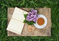 一个杯子红茶和与空白页的一本开放日志在绿草 浪漫概念 与心脏的木卡片 库存图片