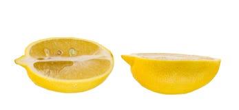一个柠檬在白色背景切成两半隔绝了 库存图片