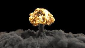 一个核弹的爆炸 原子弹爆炸的现实3D VFX动画与火、烟和蘑菇云的 库存例证