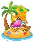 一个桃红色妖怪在海岛 库存图片