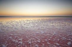 一个桃红色湖的盐和盐水,上色被微藻类Dunaliella盐沼在日落 库存照片