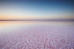 一个桃红色湖的盐和盐水,上色被微藻类Dunaliella盐沼在日落 免版税图库摄影