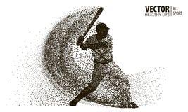 一个棒球运动员的剪影从微粒的 有吸引力的配件箱剪影坐的向量妇女 免版税库存图片