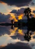 一个棕榈剪影的反射在日落的多云天空下 免版税库存照片