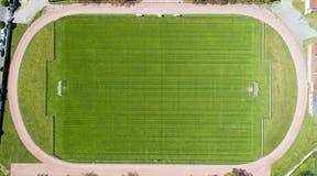 一个橄榄球场的垂直的摄影在Vertou,法国 免版税库存照片