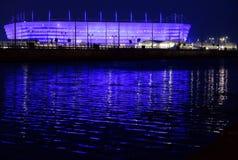 一个橄榄球场的建筑国际足球联合会的世界杯2018年完成 库存照片