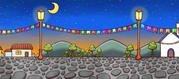 一个欢乐村庄的手拉的风景在晚上 库存例证
