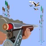 一个步枪概念传染媒介例证的装货在平的样式设计的 库存照片